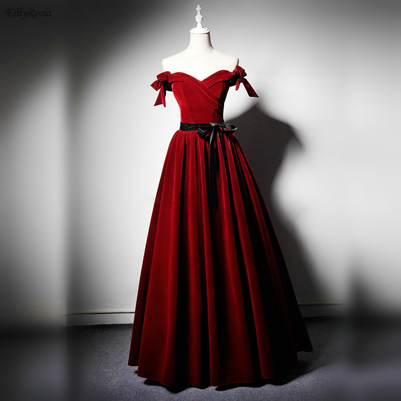 Red Velvet Prom Dresses 2019 Off The Shoulder A-Line Elegant Black Ribbon Sash Ruched Vintage Evening Gowns Vestidos De Gala