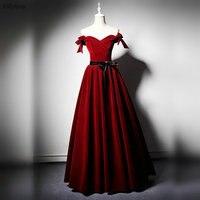 Red Velvet Prom Dresses 2019 Off the Shoulder A Line Elegant Black Ribbon Sash Ruched Vintage Evening Gowns vestidos de gala