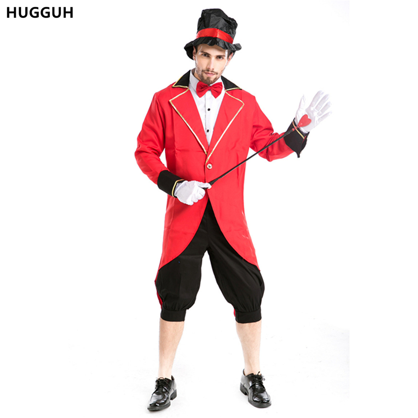 HUGGUH Brand New Mens Clothing Cosplay Costume Halloween Masquerade Magician Costume Role Play Circus Beast Red Clothing H15728