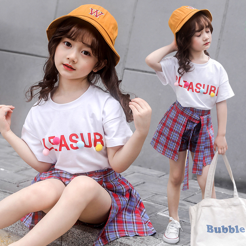 2020 Spring New 2PCS Kids Girl Clothes Sets Teenage 6 8 10 12 year Casual Solid Cotton Tops T-shirt Plaid Skirt Outfits Summer