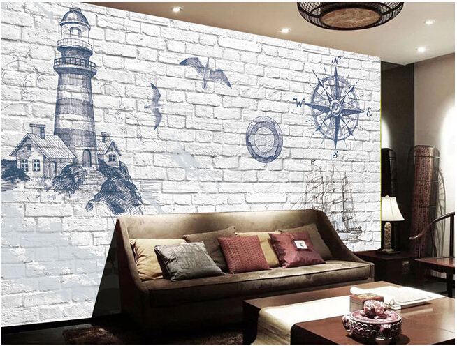 Custom vintage wallpaper, 3D lighthouse, marine boat and brick wall for the living room bedroom TV background wall wallpaper custom baby wallpaper snow white and the seven dwarfs bedroom for the children s room mural backdrop stereoscopic 3d