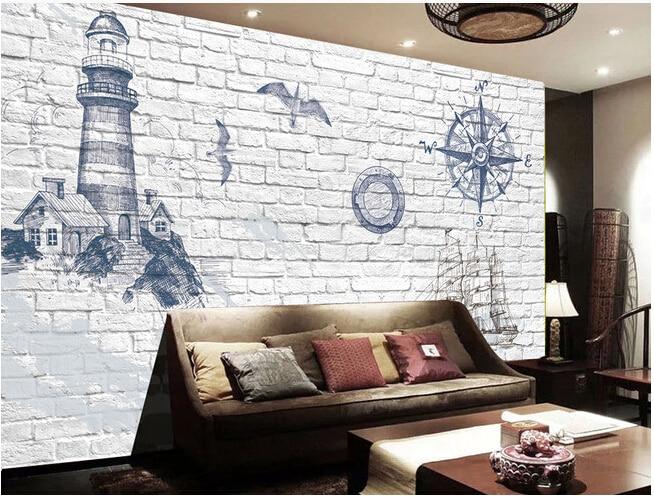 3d Grey Brick Wallpaper Custom Vintage Wallpaper 3d Lighthouse Marine Boat And