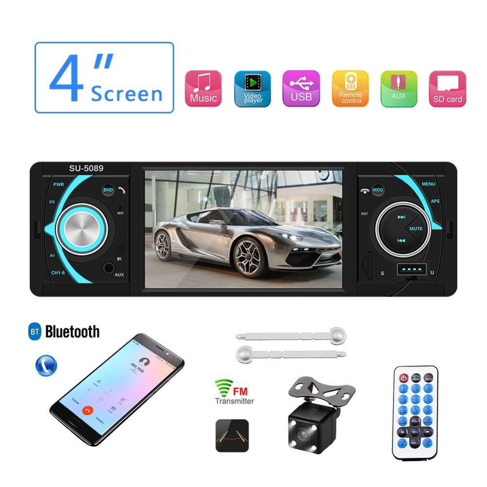 Autoradio 1 din FM Radio Autoradio Bluetooth mains libres voiture Auto Audio stéréo Support caméra de recul commande au volant TF
