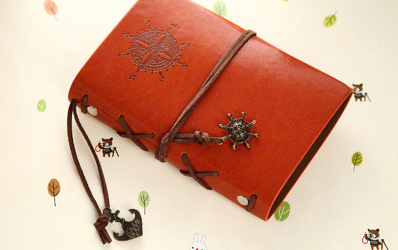 Vintage Notebook Leather Cover Journal Diary Blank String Nautical Traveler book office school supplies ON029 17