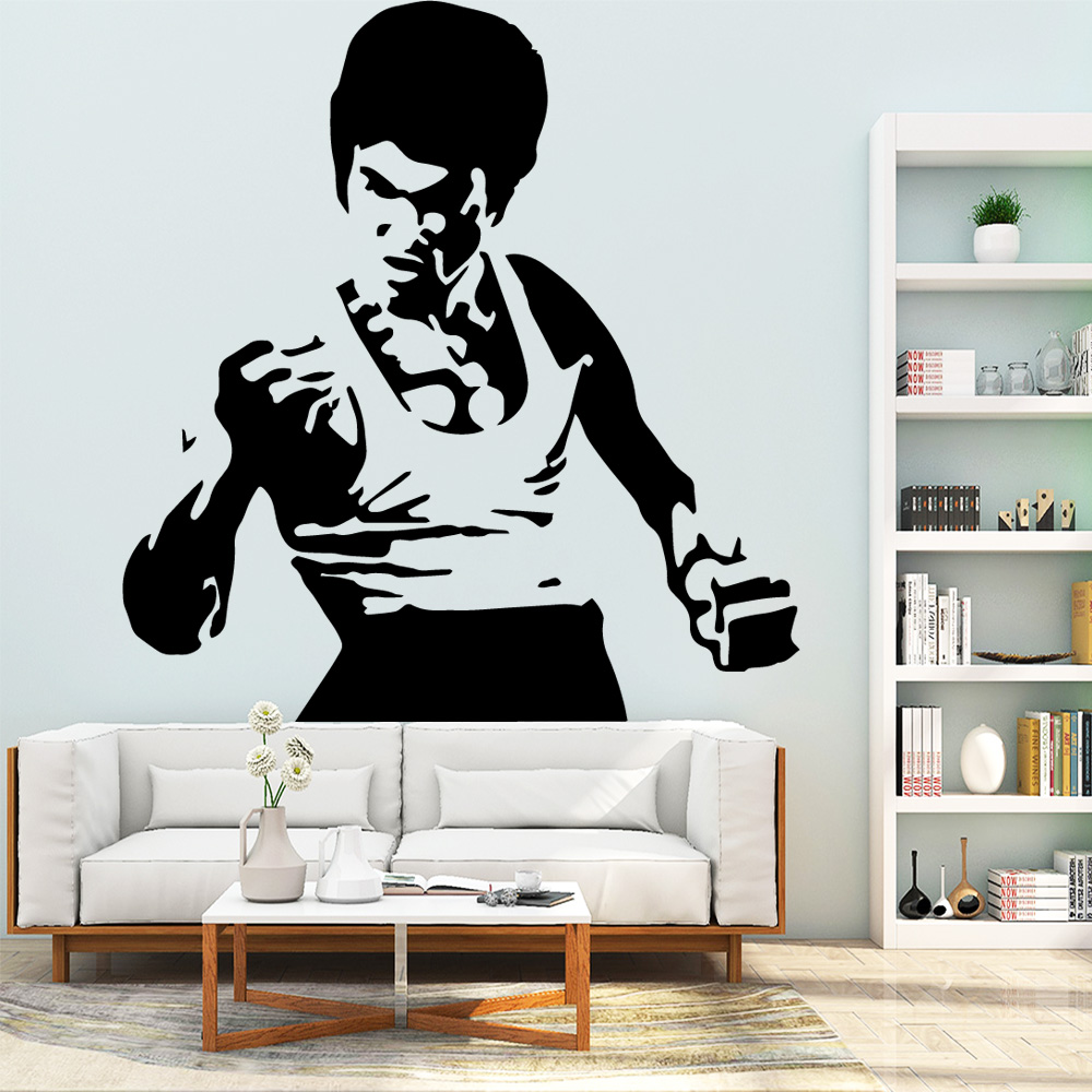 Us 2 65 22 Off Modern Bruce Lee Wall Stickers Home Furnishing Decorative Wall Sticker Kids Room Nature Decor Vinyl Art Decals In Wall Stickers From