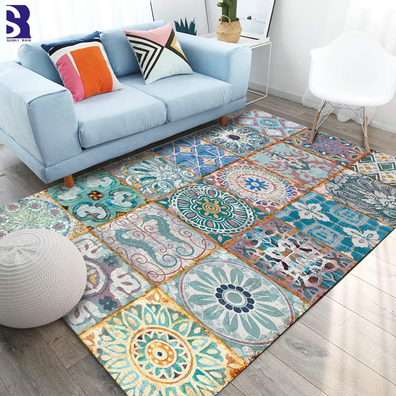 SunnyRain 1-piece Retro Printed Area Rugs For Living Room Rugs And Carpets For Kitchen Rug For Bedroom Slip Resistance