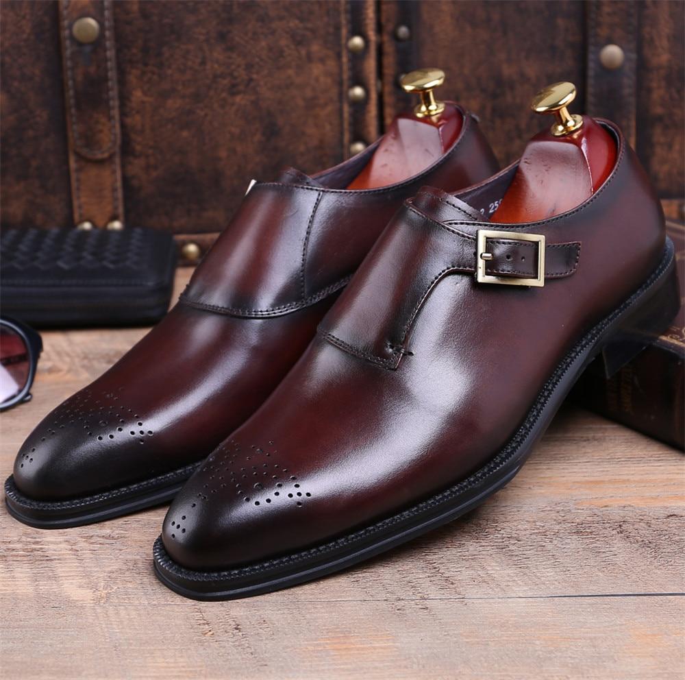 Quality Brown Tan / Black Goodyear Welt kingad Prom meeste kleit kingad ehtne nahk äri kingad mees kontor kingad luku