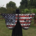 Butterfly Women Fashion Charming Girls Chic US National Flag Printed Warm Soft Comfortable Casual Long Shawl Cape Pashmina Scarf