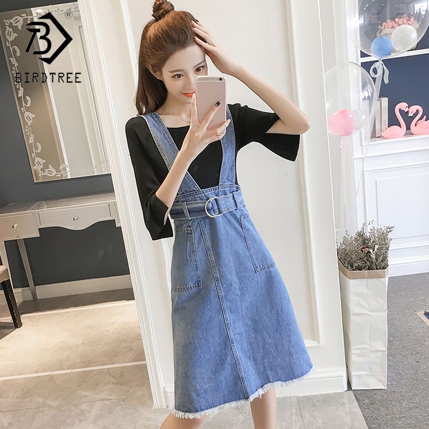 2018 Summer New Arrival Womens Denim Spaghetti Strap Dress Elegance Fashion V-Collar Sleeveless Sweet Slim A-line Hots D85622L
