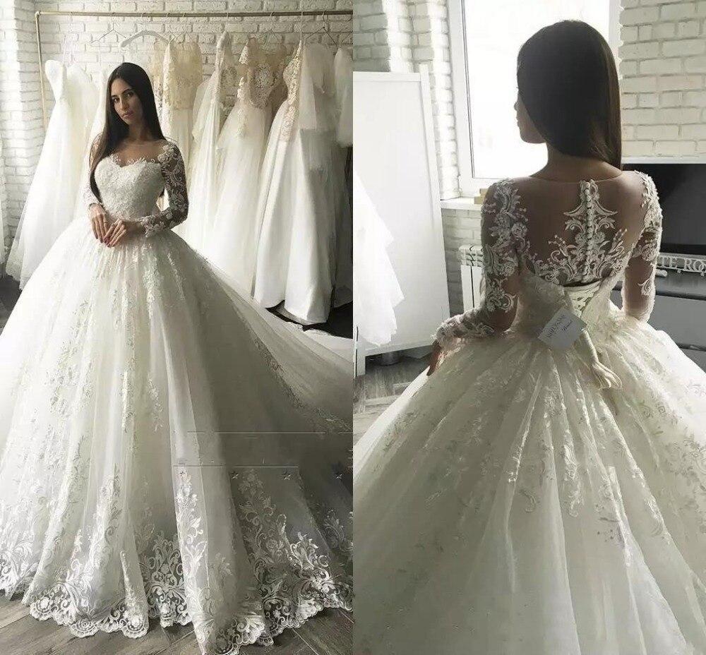 Свадебные платья в стиле ретро, фатиновые Бальные платья принцессы с длинными рукавами, свадебное платье цвета слоновой кости с бантом и ап