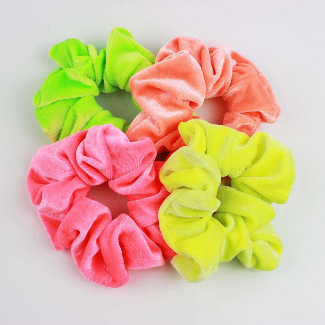 4 different neon color elastic hair bands flannel classic ponytail  graceful headwear for women hair accessories wholesale