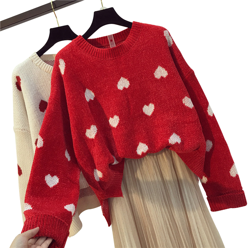 OllyMurs Loose Casual Women Knitted Sweater Autumn Winter Ladies O-neck Tops Pullover Korean Christmas Sweaters Hearts Knitwear