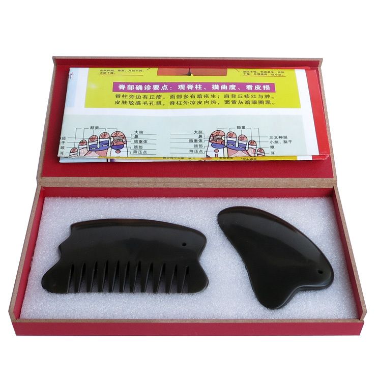 New type Wholesale Retail Traditional Acupuncture Massage Tool 5A Bian stone Guasha msssage set 2pieces lot