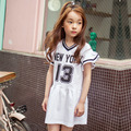 2017 New Spring Girls Preppy Style Cotton Dress Kids Letters Dress Baby Numbers Dresses Children Brand Dress ,2-14Y