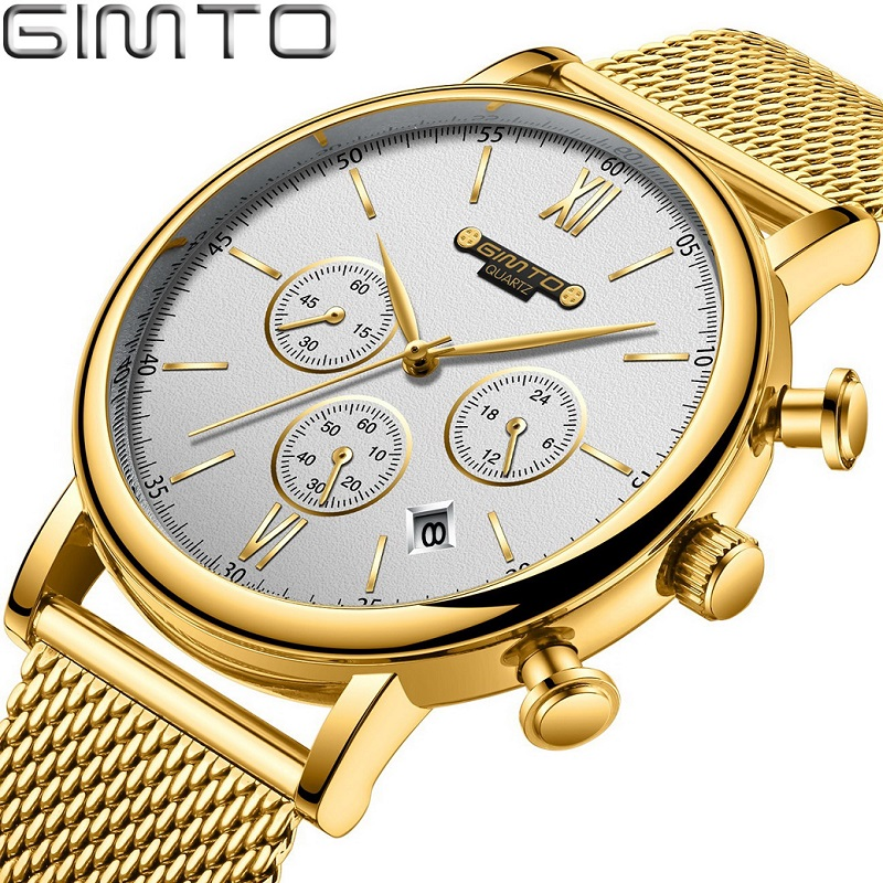 Luxury Top Brand Gold Men Watch GIMTO Brand Business Dress Male Wristwatch Stop Watch Calendar Golden Stainless Steel Clock