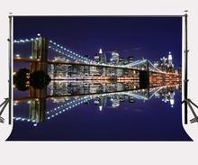 150x220cm Modern City Night View Backdrop Brooklyn Bridge Modern Glittering Buildings Photography Background
