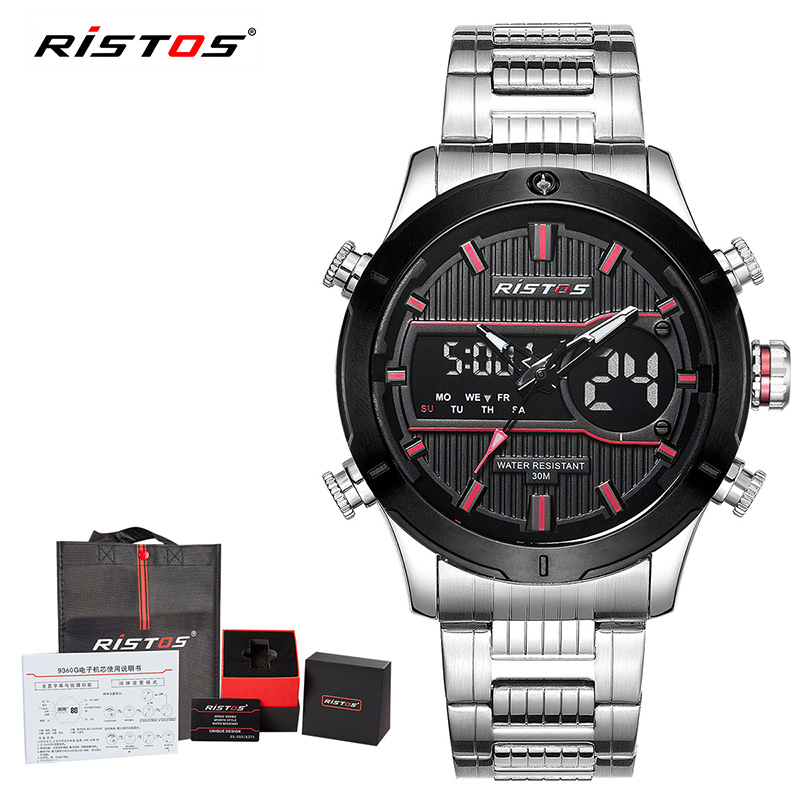 RISTOS Multifunction Chronograph Watch Men Stainless Steel Sports Watches Analog Wristwatch Man Relojes Masculino Hombre 9360 analog watch