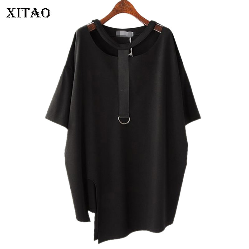 XITAO Irregular Collar Hollow Out T Shirt For Women Top Korean Splice Metal Ring Split Irregular Black O Neck Causal Tee KZH149