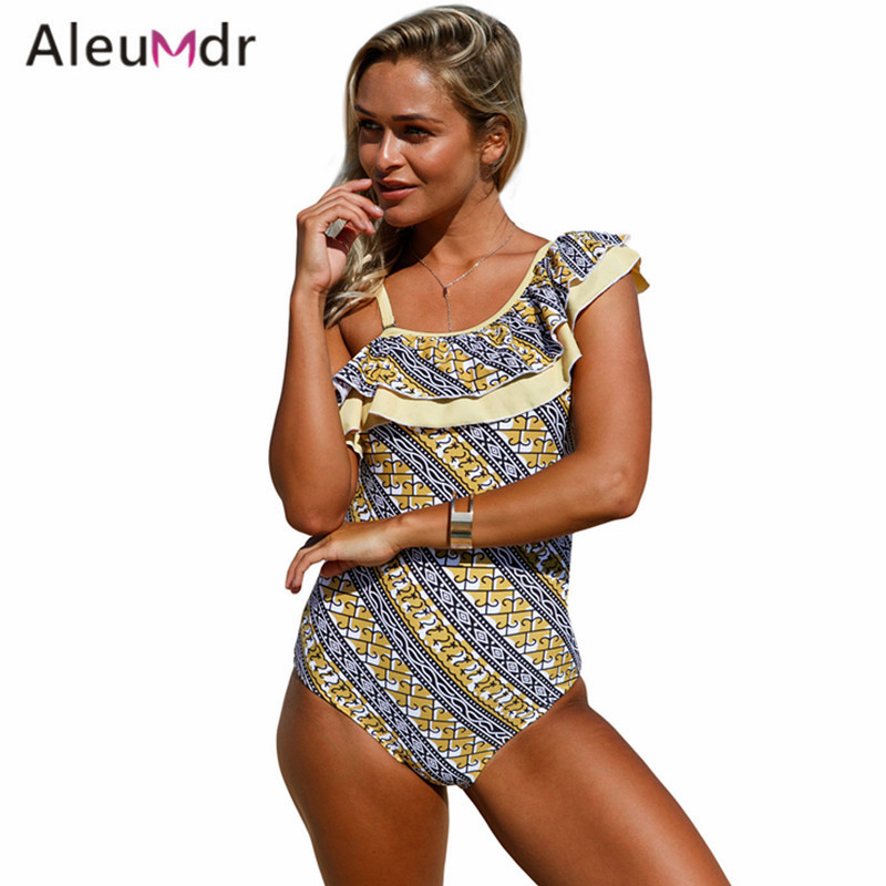 Aleumdr Swimming Suit For Women One Piece Stylish Print Ruffle One Shoulder Bodysuit Swimsuit High Cut LC410237 Fato De Banho fashionable strappy printed cut out one piece swimsuit for women