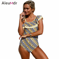 Aleumdr Stylish Print Ruffle One Shoulder Teddy Swimsuit LC410237