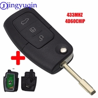 Jingyuqin 3 Button Folding Remote Car Key 433Mhz 4D60 CHIP For Ford Focus Fiesta C Max