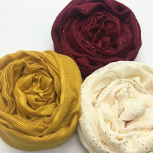 Cotton Solid Color Hollow Women Scarves With  Gold Diamond Islamic Muslim Hijabs Shawl Plain Strip Malaysia Headscarf 90*180CM