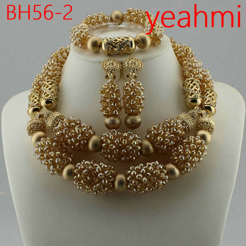 2019 Free Shipping Nigerian Beads Wedding Jewelry Set Bridal Dubai Gold-color Jewelry Sets African Beads Jewelry Set BH56-2