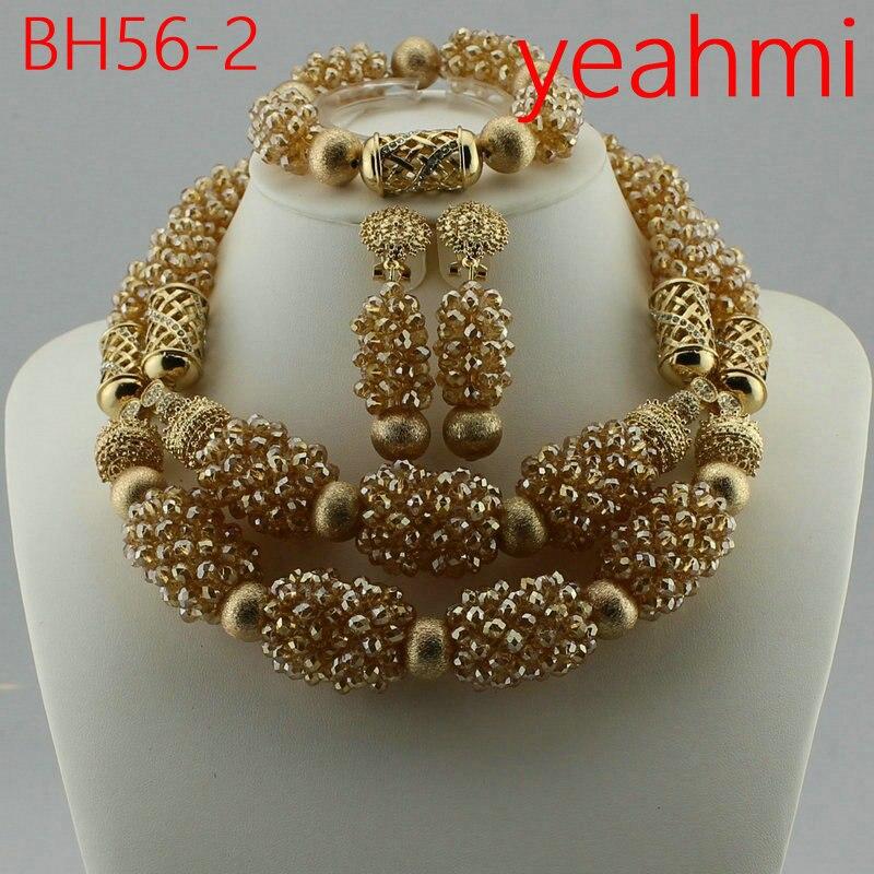 2019 livraison gratuite perles nigérianes ensemble de bijoux de mariage mariée Dubai or-couleur ensembles de bijoux perles africaines ensemble de bijoux BH56-2