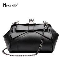 a30abd0fb MINOFIOUS New Women Bowknot Genuine Leather Messenger Bags Fashion Small  Shoulder Bag Retro Black Handbag High