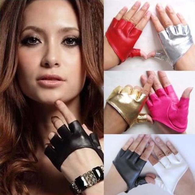 Fashion Half Finger Fingerless PU Leather Gloves Ladys Driving Show Pole Dance  Mittens for Women Men Free Shipping 2
