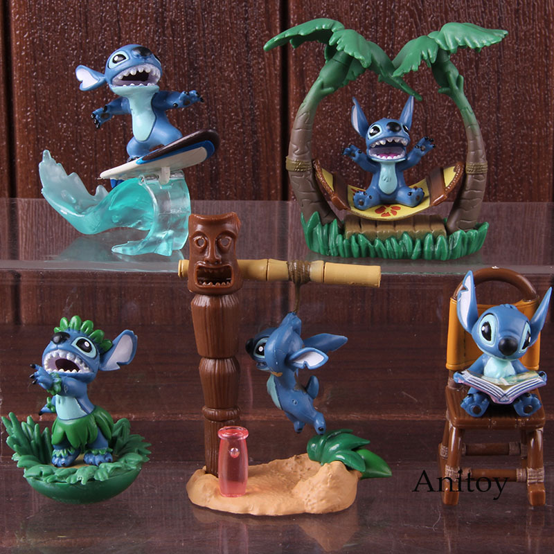 Cartoon Figure Lilo and Stitch Action Figures PVC Collectible Model Toys Lilo Stitch Christmas Birthday Gifts for Kids 5pcs/setAction & Toy Figures   -
