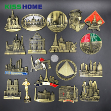 Creative Famous Landmark Metal Refrigerator Stickers Magnetic Country Decorative 3D Fridge Magnet