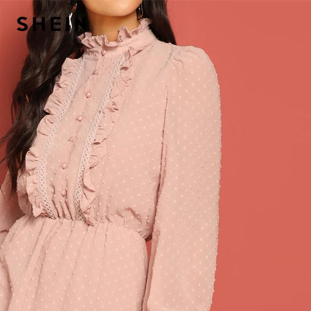 Pink Frill and Lace Trim Half Placket Dot Jacquard Stand Collar Dress