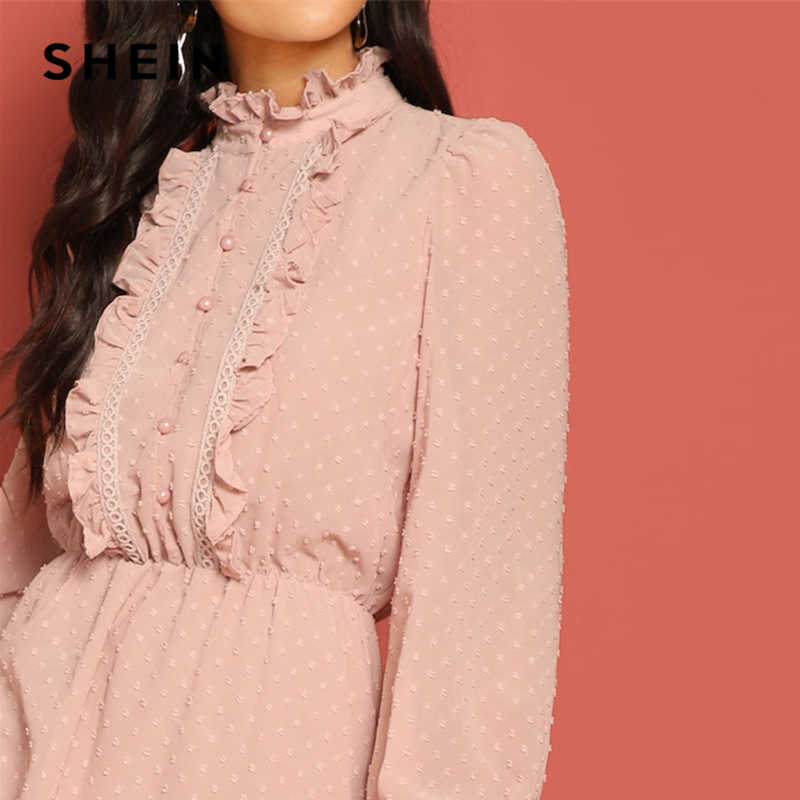 0e8f9b4405 ... SHEIN Pink Frill and Lace Trim Half Placket Dot Jacquard Stand Collar  Dress Autumn Women Long