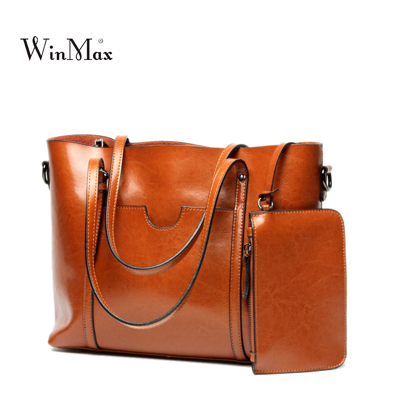High Quality Women Genuine Leather Handbags Shoulder Bag Cow Leather Tote Bag Female Vintage Handbag Sac a Main Ladies Hand Bags