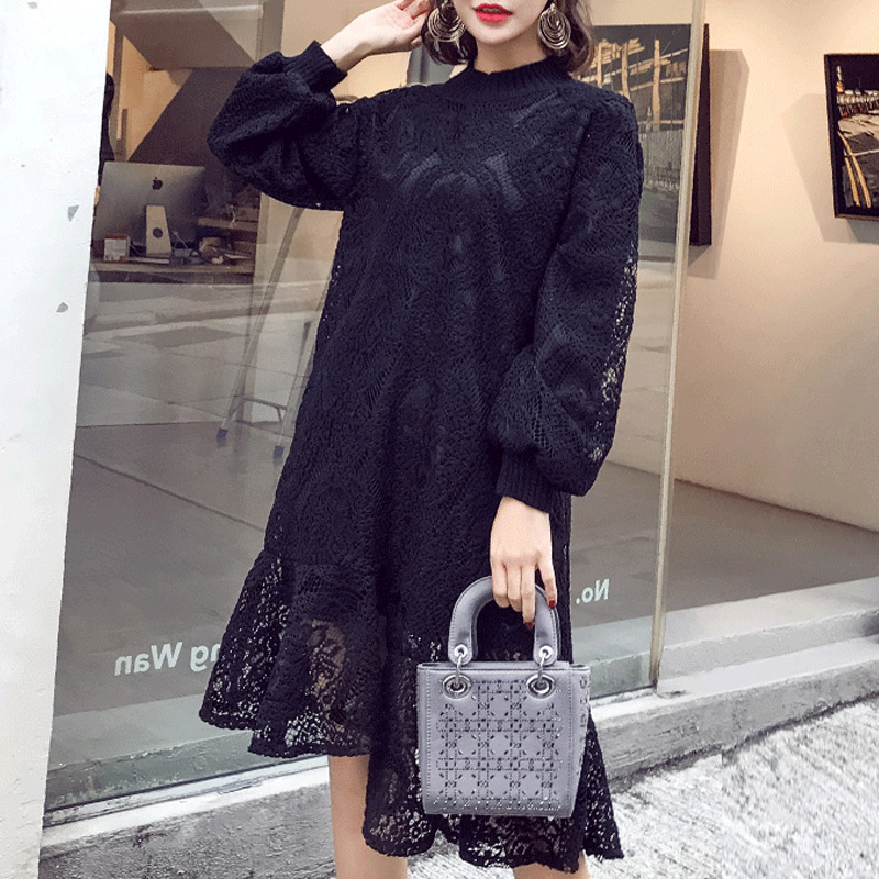 цена на 2018 spring high neck knitted lace maternity fashion dresses long sleeve crochet clothes for pregnant women pregnancy clothing