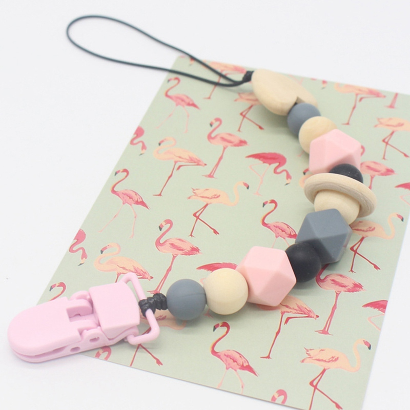 Silicone Teething Pacifier Clips With Safe ABS Beads Silicone Pacifier Chain Holder For Nipples Baby Chew Toys