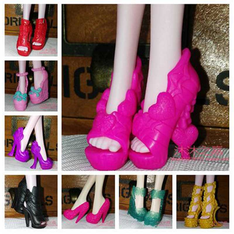 10Pairs/Lot  Doll Accessories Fashion Mixed Style High Heel Monster Doll Shoes 1/6
