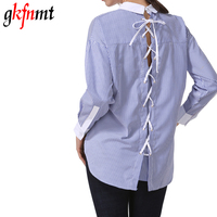 Gkfnmt Female Blouse Shirt Back Bandage Casual Blue Striped Shirt 2017 Autumn Cool Long Sleeve Blouse