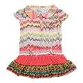 2015 розовый new baby девушки платье новый дизайн розовый цветочный вышитые хлопка рукавов летние девушки одеваются