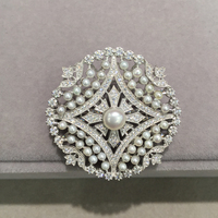 natural small pearl brooch pierced china pattern 925 sterling silver with cubic zircon fashion women jewelry
