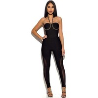 wholesale new Jumpsuits Black and orange Halter Stretch tight fashion bandage Rompers (H1871)