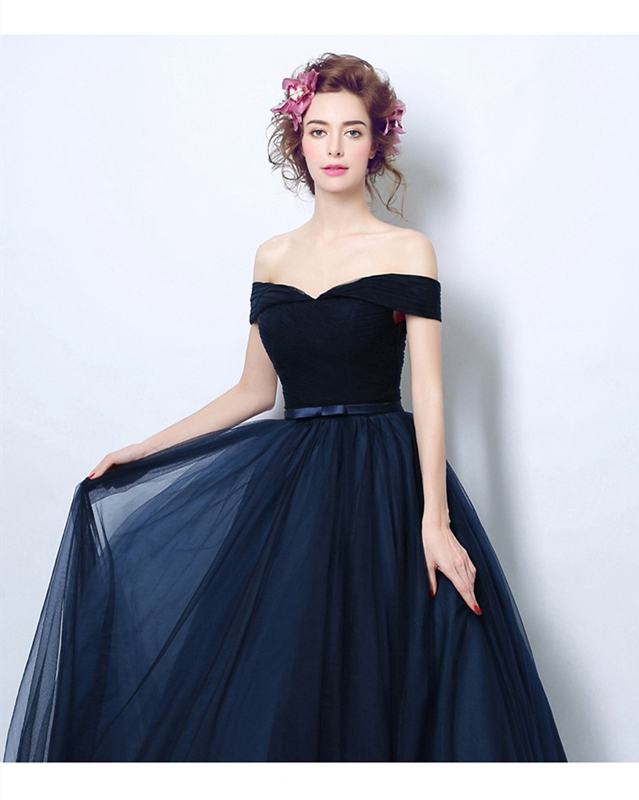 Dark Blue Sexy Evening Dress 2019  Lace Up Sweetheart Neck Floor Length A Line Tulle Simple Off Shoulder Sleeveless Prom Gown
