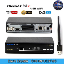 V8 SUPER Receptor DVB-S2 HD FTA Satellite TV Receiver free 1 Year Europe 5 lines cccam + USB WIFI Support Cccam/Youtube