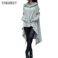 Gray Sweatshirts Long Pullover Pocket Drawstring New Womens Solid Irregular Hoody Casual Hoodies Sweats Coats Tops E25933