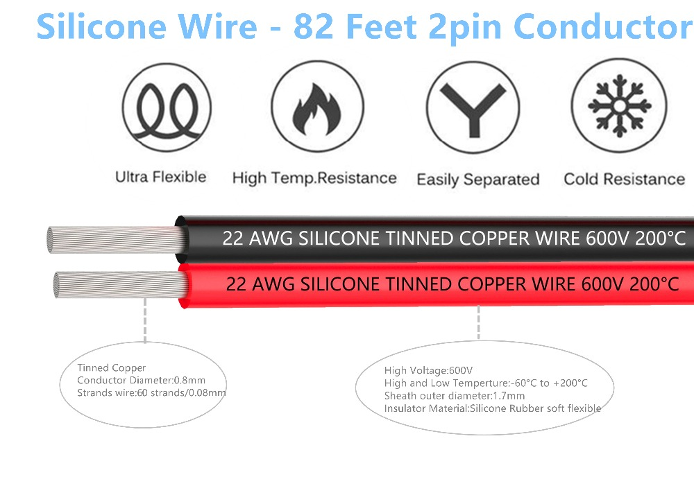 22AWG Silicone Electrical Wire 10M  Extension Cable Wire Cord 2 pin Cables Flexible Hook UP Strands Tinned Copper Wire