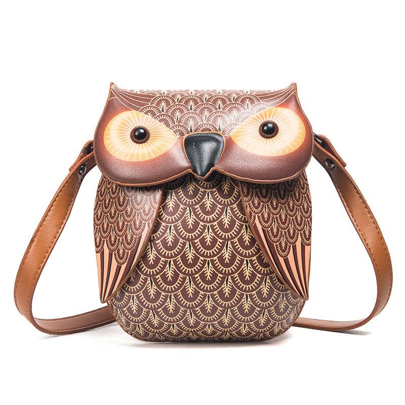 Mini Handbag Women Designe PU Leather Kawaii Owl Messenger Crossbody Shoulder Bag Cute Cartoon Female Teenager Girls Phone Tote