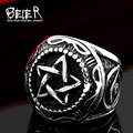 Beier new store 316L Stainless Steel ring high quality pentagram punk Biker ring for men  fashion jewelry BR8-380