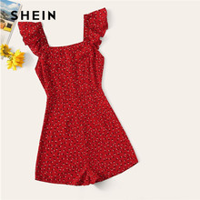 SHEIN Red Ruffle ribete Floral mameluco mujer pierna ancha media cintura Playsuit verano sólido Highstreet fiesta sin mangas(China)