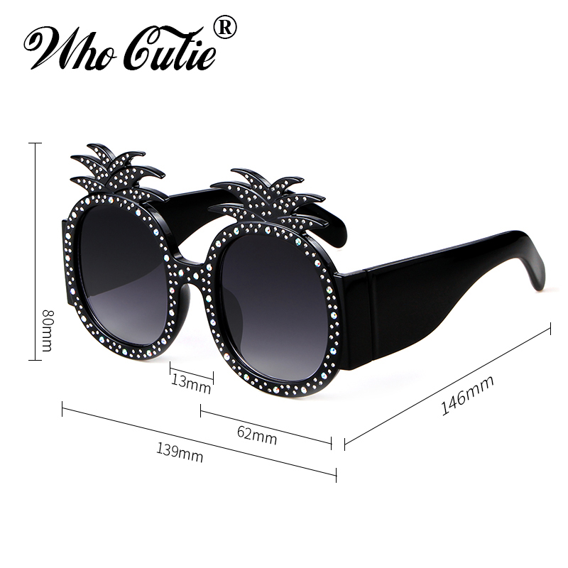 c4474e442d WHO CUTIE 2018 Oversized Pineapple Sunglasses Women Luxury Brand Designer  Vintage Retro Crystal Frame Round Lens Sun Glasses 631-in Sunglasses from  Apparel ...